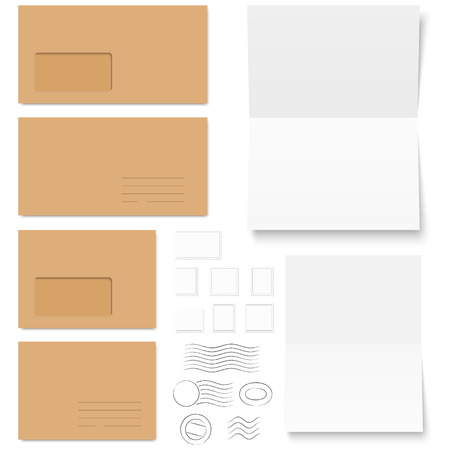 Collection Of Colored Envelopes With Writing Paper And Post Marks Vector  Colored Writing Paper