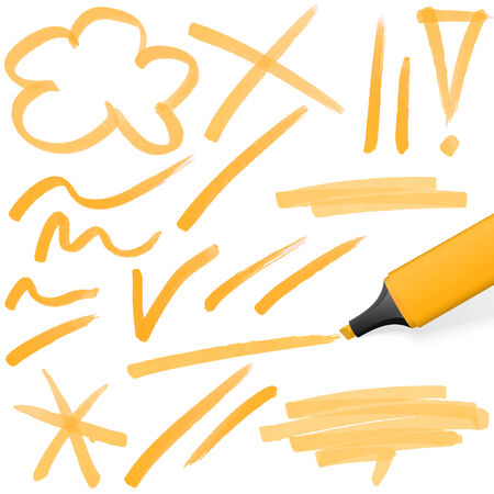 text marker: orange colored highlighter with different hand drawn markings