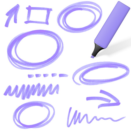 purple colored highlighter with different hand drawn markings Vettoriali