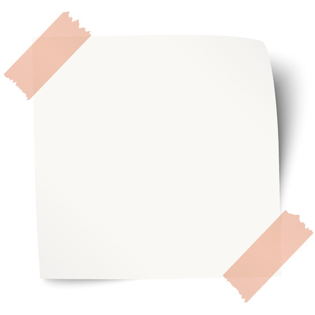white sticky note with red adhesive tape