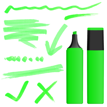 green colored highlighter with different hand drawn markings Vector