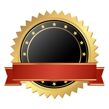 template seal of quality gold with banner