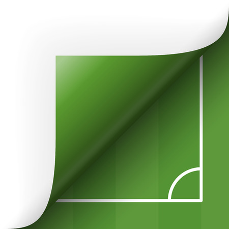 turn over: Paper lower right corner with green soccer field Illustration