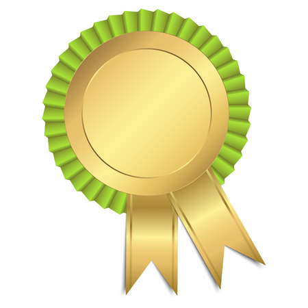 first prize: gold button with ribbon template Illustration
