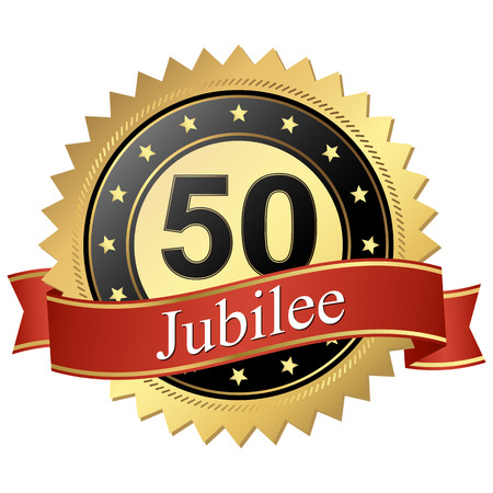 cachet: Jubilee button with banners 50 years