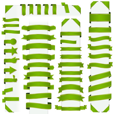 big collection of design retro banners green