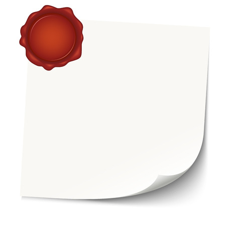 empty paper with red wax seal Vector