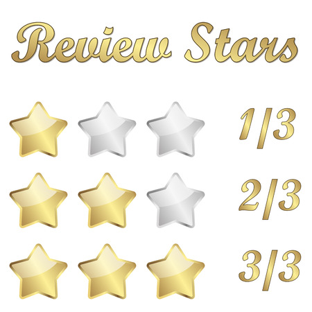 golden review stars for rating Vector