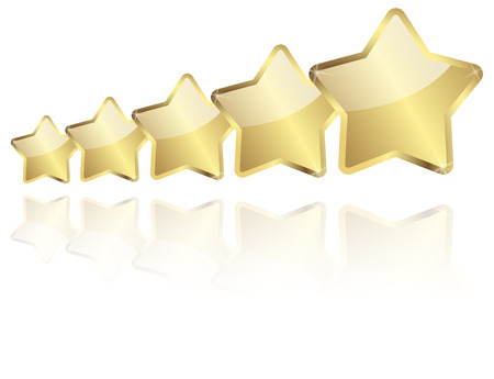 distinguished: five golden stars with reflection in a row