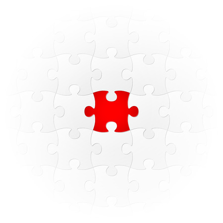 extraordinary: teamwork - puzzle symbolism - one colored part