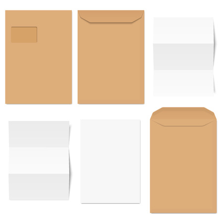 vector collection of colored envelopes with writing paper