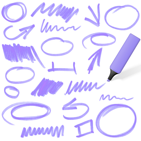 purple colored highlighter with different hand drawn markings Vector
