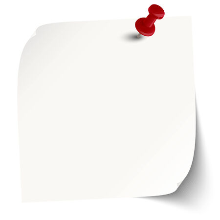 sticky note: white sticky note with red pin needle