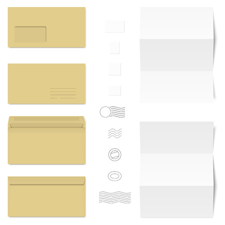 chit: collection of business letters, envelopes, stamps and postmarks