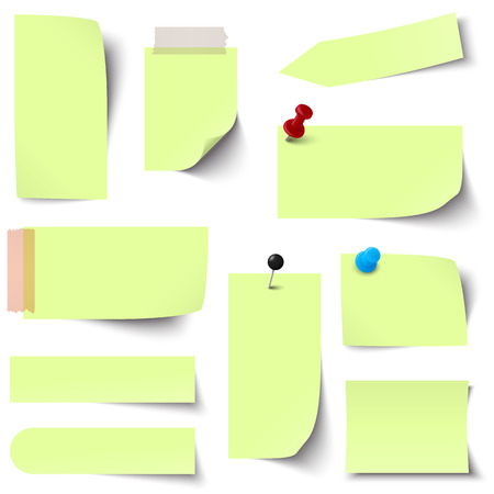 chit: collection of green colored sticky notes Illustration
