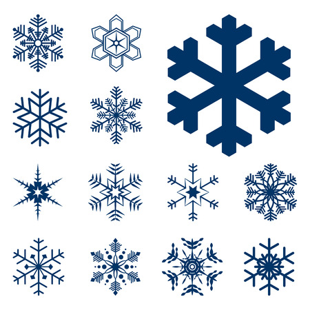 collection of different blue snowflakes on white background Ilustracja