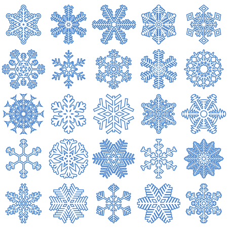 flurry: collection of different blue snowflakes on white background Illustration