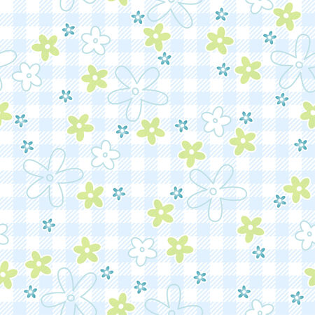 buzzer: Blue and green flowers on seamless checkered table cloth background