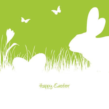 lapin silhouette: silhouette blanche d'un lapin avec des oeufs de Pâques et papillons volant