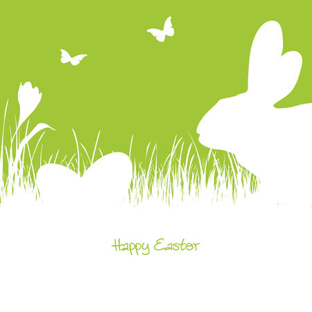 rabbit silhouette: white silhouette of one rabbit with easter eggs and flying butterflies