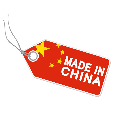internationally: isolated hang tag with china flag and text MADE IN CHINA Illustration