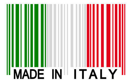 internationally: bar code with italian colors and text MADE IN ITALY