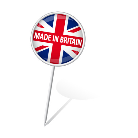 internationally: round pin with shadow and text MADE IN BRITAIN