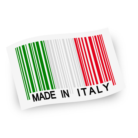 produced: swung flag with italian flag as barcode and text Made in Italy Illustration