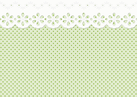 endless festoon, ornament on green spotted pattern