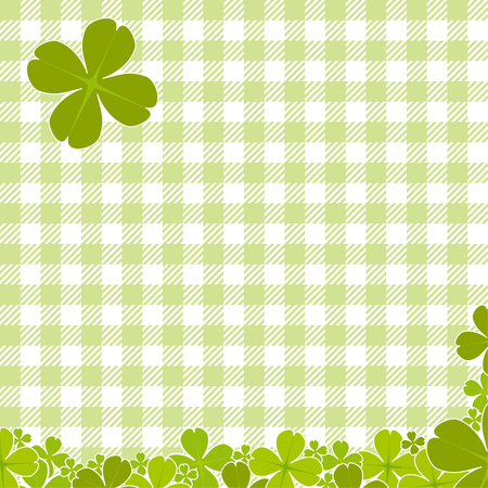 cloverleaf: Saint Patricks day background with green checkered pattern and clovers Illustration