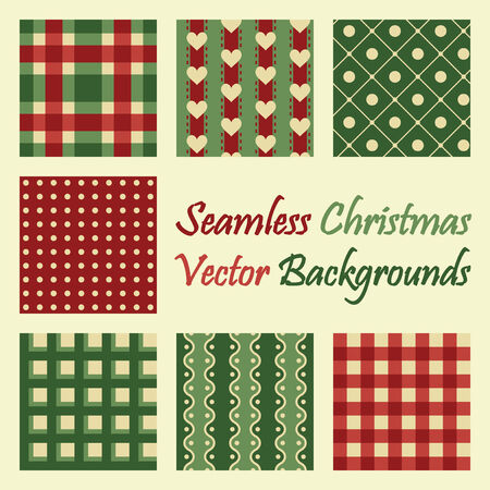 christmas backgrounds: seven colored seamless backgrounds for christmas designs