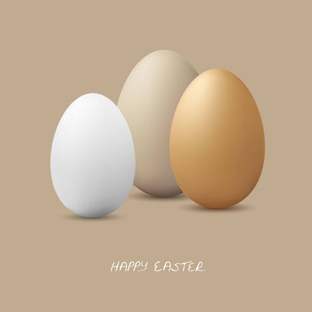 birds eye view: three white gray, and brown colored easter eggs as symbolism for easter time