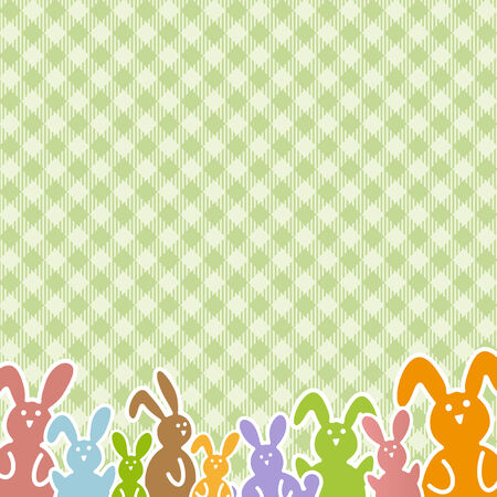 easter time: Colorful bunnies on green checkered table cloth pattern for easter time