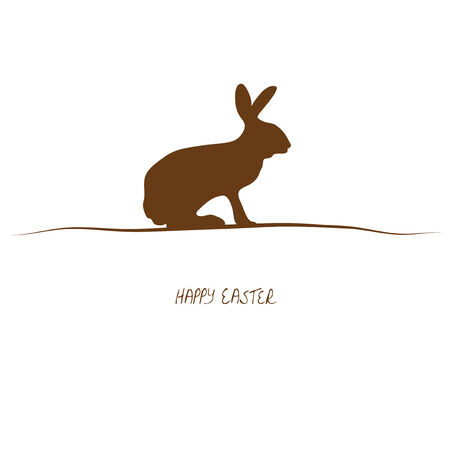 rabbit silhouette: brown silhouette of rabbit on white background for easter time Illustration