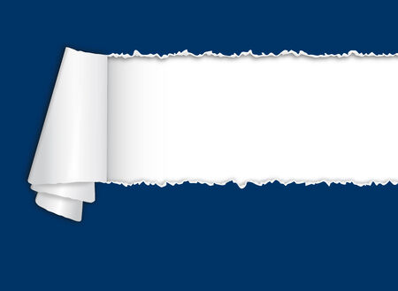 torn paper edges: blue torn open paper with curl and white space for text Illustration