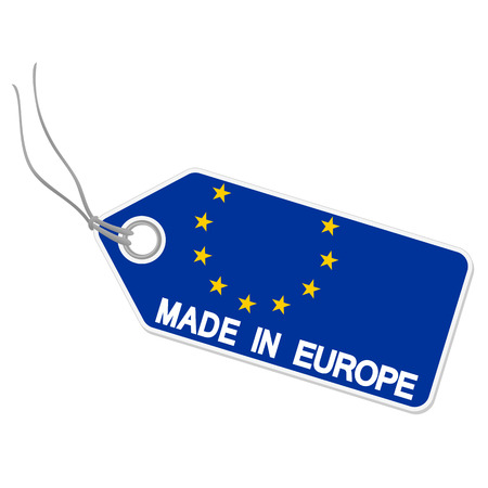 internationally: isolated hang tag with europe flag and text MADE IN EUROPE