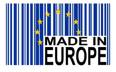 electronically: bar code with european flag and text MADE IN EUROPE