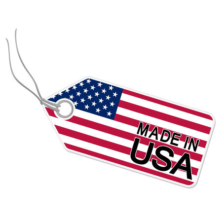 made in: hang tag with flag of the USA and text MADE IN USA