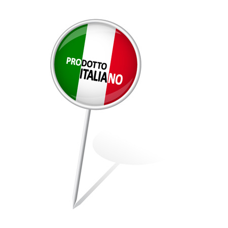 internationally: round pin with shadow and text Made in Italy (in Italian) Illustration