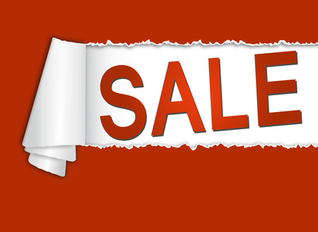 cheaper: red torn paper with curl and open text Sale