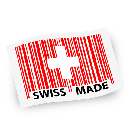 swung flag with swiss flag as barcode and text Swiss Made Vector