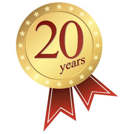 ゴールド ジュビリー ボタン 20 年  イラスト・ベクター素材