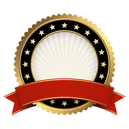medal ribbon: Button template gold and black with red banner vector Illustration