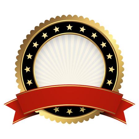 Button Vorlage Gold und schwarz mit roten Banner Vektor Vektorgrafik