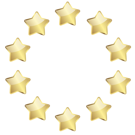 vector of ten golden stars in a circle Illustration