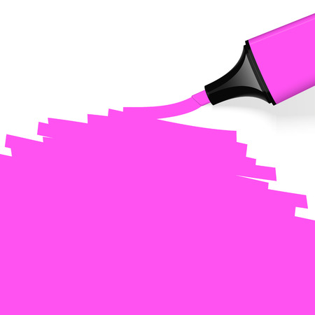 characterize: pink highlighter with marking Illustration
