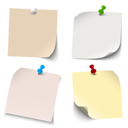 Collection of notes, memos blank with pin needles Illustration