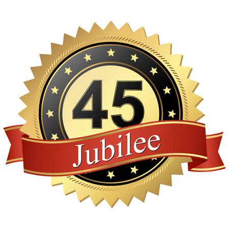 cachet: Jubilee button with banners 45 years Illustration