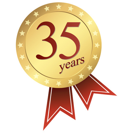35 years: gold jubilee button 35 years