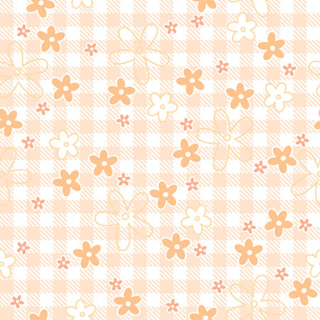 continuously: flowers on checkered table cloth background seamless Illustration